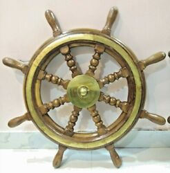 Nautical Replica Ship Steering Wheel Wooden And Brass 1 Piece 30 Inch