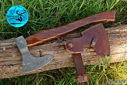 17 Inch Hand Forged Damascus Steel Axe With Wood Handle - Aj 1301