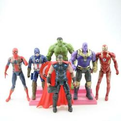 Avengers Action Figures Toy Set 6 Pcs Hero IronMan Hulk Spiderman Thanos Thor