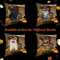 Halloween Trick Or Treat Dog Cat Pet Photo Lovers Decorative Pillow 18x18 In