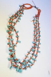 Navajo Or Zuni Turquoise And Coral Strand Necklace C. 1950 Cg Wallace Collection