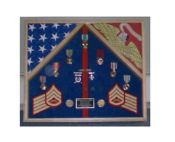 Marine Corps Two Us American Flag Display Case Shadow Box For Medals And Badges