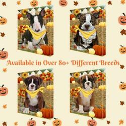 Fall Autumn Greeting Dog Cat Pet Photo Canvas Wall Art Décor 24x36 In
