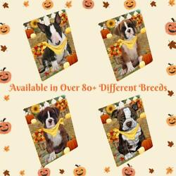 Fall Autumn Greeting Dog Cat Pet Tempered Glass Cutting Board 16x12 In Large