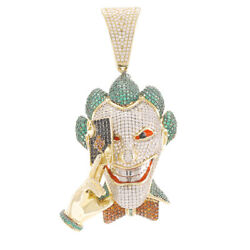 Hallmarked 9ct Gold Iced Out Cz Gem-set Joker Head Pendant Rrp Andpound2360 Tp57