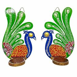 Peacock Tealight Candle Stand Set of 2 Tealight Candle Holders Diwali Home Decor