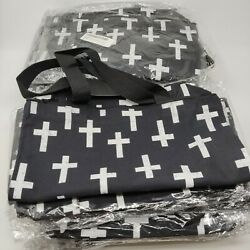 Wholesale Lot of 45 Canvas Totes Bags Shopping Black Field of Crosses Durable $40.00