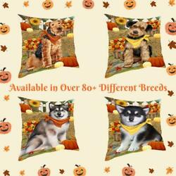 Fall Autumn Greeting Dog Cat Pet Photo Lovers Throw Decorative Pillow 18x18 In