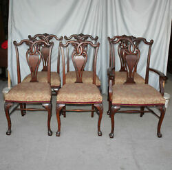 Antique Oak Chairs Set Of Six Matching With Carved Claw Feet