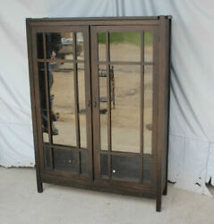 Antique Mission Oak Double Door Bookcase – Pane Windows - Arts And Crafts Style