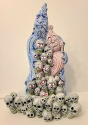 Vintage Unique Halloween Gothic Ceramic Ghost W Collection Light Up Skull Heads