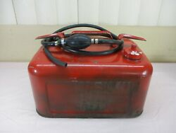 Vintage Metal Apprx. 4 Gallon Marine Outboard Boat Motor Gas Can With Hose