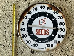 """Vintage Farm Feed Fs Seed Advertising Embossed Thermometer Large 18"""" Broken"""