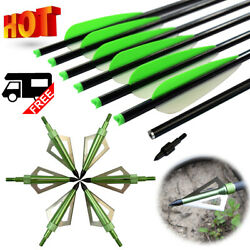 Crossbow Bolts 16/18/20/22 Inch Aluminum Arrows With Broadheads Hunting Outdoor