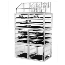 Beauty Acrylic Cosmetic Organizer Makeup Case Holder Drawers Jewelry Storage Box $26.90