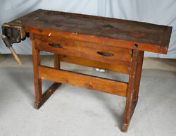 Antique Maple Work Bench With Vise - Carpentry Or Work Shop