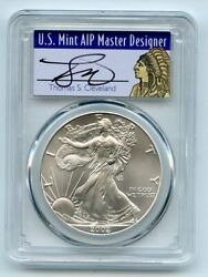 2002 1 American Silver Eagle Dollar Pcgs Ms70 Thomas Cleveland Native