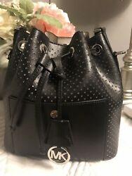 MICHAEL KORS GREENWICH MEDIUM BUCKET BAG BLACK PERFORATED LEATHER ORIG. $328 $65.00