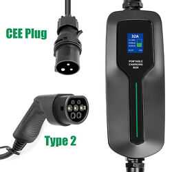 32a Ev Charger Type 2 Home Portable Electric Vehicle Car Charging Cable Cee