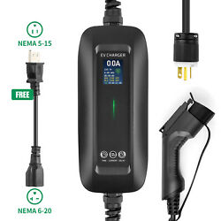 Lefanev Level2 Ev Car Charger Timing Lcd 6/8/10/13/16a 6-20p With Adapter Evse