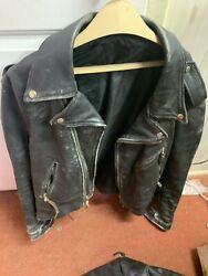 VINTAGE MOTORCYCLE LEATHER JACKET Riding BLACK MENS SIZE XL. Distressed Heavy $125.00