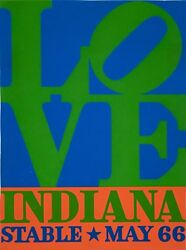 Early Original Robert Indiana Love Stable 1966 Poster By Screen Print Exhibition