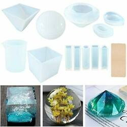 11pk Resin Casting Molds Large Clear Diy Silicone Epoxy Including Cubic Pyramid