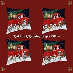 Christmas Express Delivery Red Truck Running Dogs Cats Photo Throw Pillow