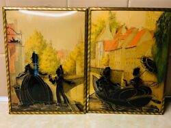 Pair Of Vintage Reverse Painted Convex Silhouette Pictures