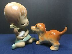 Vintage Porcelain Figurines Little Girl and Puppy Unmarked