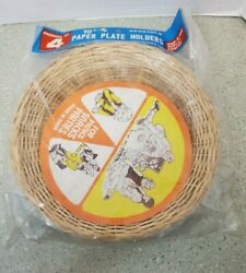 4 Vintage Bamboo Plate Holders Wicker Rattan Picnic Camping Cookout New