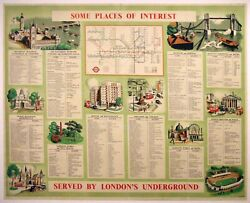 Some Places Of Interest Served By Londonand039s Undergound - Original 1923 Poster