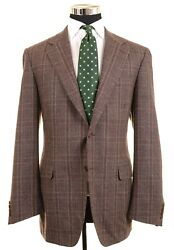 Recent Canali Brown Flannel Cashmere Wool Plaid Check Sport Coat Jacket 44 L