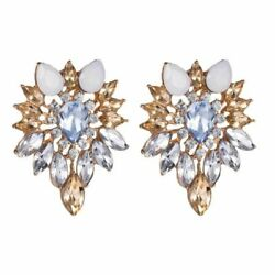 Awesome Upscale Clear amp; White Tree Leaves European Crystal Earrings