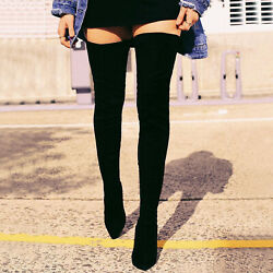 NEW Pointed Toe Stretchy Over The Knee Thigh High Boots Stiletto Heel Pull On $39.99