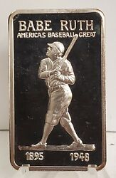 1974 Mpm Babe Ruth 1oz Silver Art Bar Rare Frosted Reverse