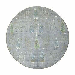 8and0392x8and0392 Folk Art And Willow Cypress Tree Design Peshawar Hand Knotted Rug R55705