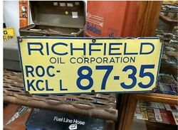 Porcelain Richfield Oil Corporation Oil Well Lease Sign 10andrdquox24andrdquo