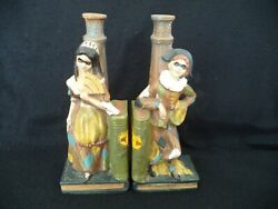 Majolica Figural Wine Bottles Man Woman Masquerade Harlequin Mask Italy Bookends