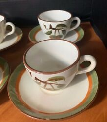 Stangl Orchard Song China Brown Green Fruit 6 Cups And Saucers Un-used Vintage
