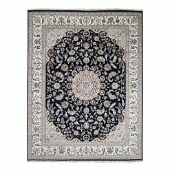 7and0398x10and039 Navy Blue Nain Wool And Silk 250 Kpsi Hand Knotted Oriental Rug R59422