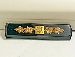 18k Yellow Gold And Genuine Seed Pearl Jet Black Glass Antique Mourning Pin