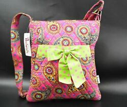 Belvah Crossbody Style Pink and Multi Colored Paisley Quilted Purse $12.00