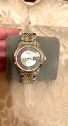 Gucci Gold Silver Two Tone Red Green G Logo Quartz Second Hand Watch 38mm $598.98