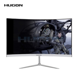 Gaming Curved Monitor Silver 24 Inch For Pc 75hz Hd Vga/hdmi Gaming Display
