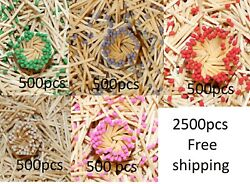 2500pcs Green Ash Rose Pink Red And White Tips White Matchsticks 1.85