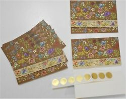 8 Stunning Hallmark Postalettes Fold A Note Cards And Seals Unused Floral On Brown