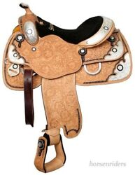 16 Inch Western Silver Show Saddle - Light Oil Leather - Silver - Black Inlay