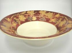 Crate And Barrel Volante 14 Serving Bowl Burgundy Gold Grape Leaves Made Italy