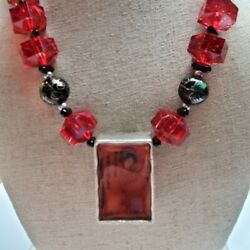 Chicos Signed Asian Lucite Red Beaded Necklace